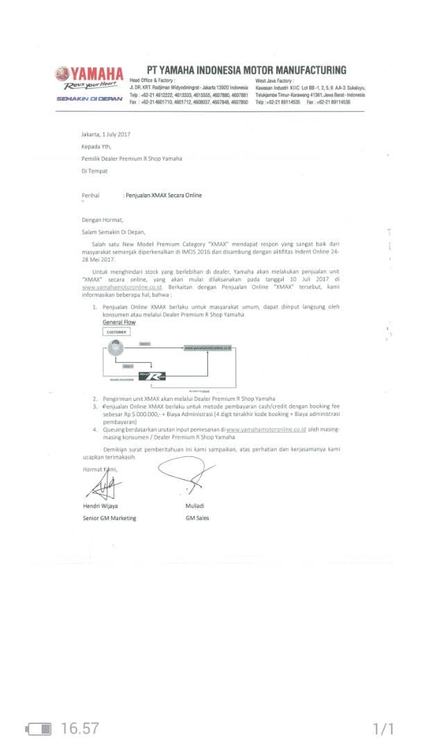 surat booking-online-juli-xmax